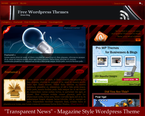 Wordpress Theme - Transparent News Mag